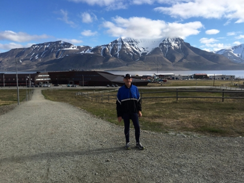 Dr. Smith pauses during a run in Svalbard, Norway - 1,300 km away from the North Pole