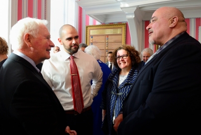 Josh Butcher and his parents had the opportunity to meet Governor General David Johnston (left).